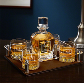Set Of 6 Oakhill Tray Decanter And Rocks Glasses