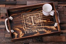 Engraved Decorative Monogram Wooden Serving Tray
