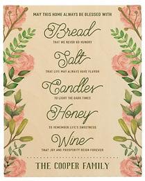 Custom Name Housewarming Bread Salt Wine Quote Wood Wall Art
