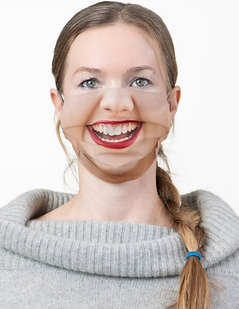 Happy Smiling Female Face Red Lipstick Funny Face Mask