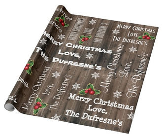 Personalized Rustic Christmas Wooden Fence Wrapping Paper
