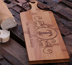 Engraved Bread & Cheese Bamboo Cutting Board