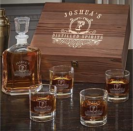 Wooden Box Set w/ Decanter & Bryne Whiskey Glasses