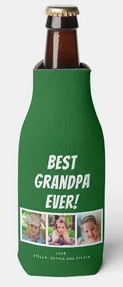 Best Grandpa Ever 3 Photos on Green Bottle Cooler