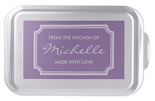 Elegant baking cake pan with personalized name