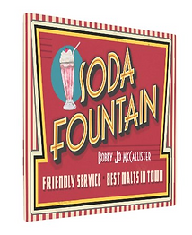 Vintage Soda Fountain Sign Metal Art