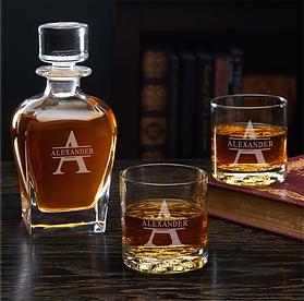 Whiskey Glasses Set with Monogram Decanter