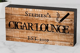 Custom Cigar Lounge Bar Personalized Gift Wooden Box Sign
