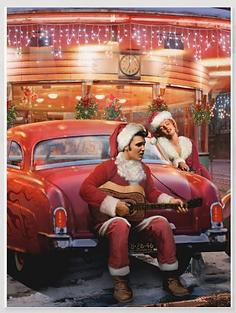 Elvis and Marilyn Christmas Holiday Postcard