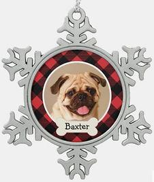 Red Buffalo Plaid Custom Pet Puppy Dog Photo Snowflake Pewter Christmas Ornament