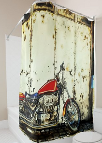 Mens Motorcycle Shower Curtain