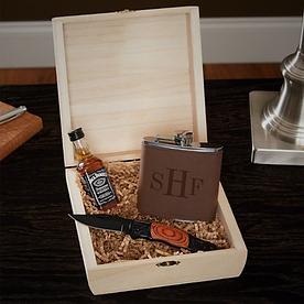 Classic Monogram Gift Box With Knife And Hip Flask