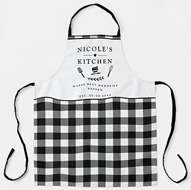 Custom Text, Black and White Buffalo Plaid Kitchen Apron