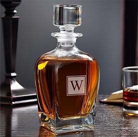 Engraved Whiskey Decanter Block Monogram 28 oz.