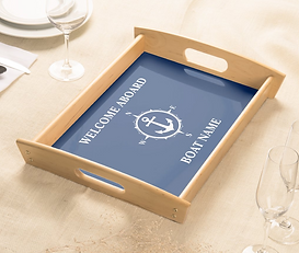 Your Boat Name Compass Anchor Blue Serving Tray