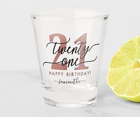 Rose Gold 21st Birthday 1.5 oz Shot Glass