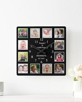 Create your own photo collage wall clock with 12 of your favorite pictures.