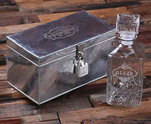 Engraved Metal Box with Lock and Whiskey Decanter
