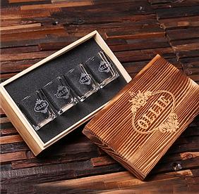 Keepsake Box & Set of 4 Etched Shot Glasses