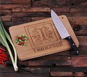 Pretty Engraved Monogram Bamboo Cutting Board
