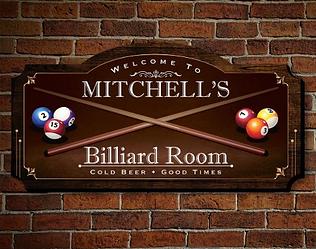 Billiard Room American Birch Wood Home Wall Sign