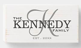 Rustic Monogram Family Name Established Wooden Box Sign