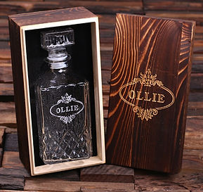 Unique Wooden Gift Box and Whiskey Decanter