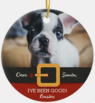 Funny Christmas Santa Dog Photo and Name Custom Ceramic Ornament