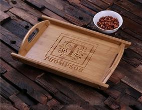 Decorative Monogram Engraved Wood Serving Tray