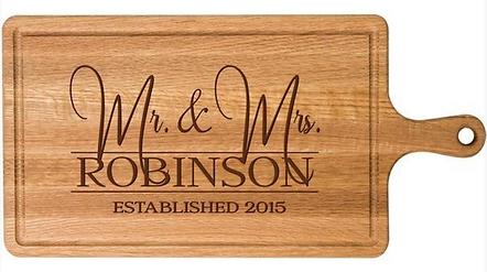 Mr & Mrs Elegant Cherry Wood Cutting Board