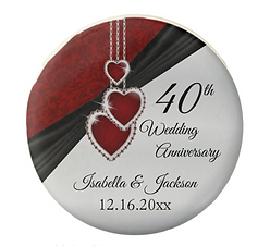 Personalized 40th Ruby Wedding Anniversary Chocolate Covered Oreo