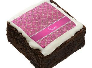 Custom name pink glitter Moroccan chocolate brownie