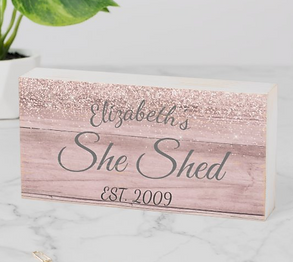 Custom She Shed Personalized Rose Gold Wooden Box Sign
