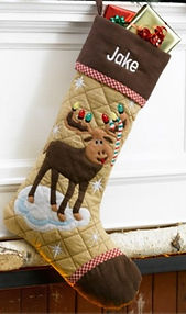 Moose Cabin Series Quilted Christmas Stocking