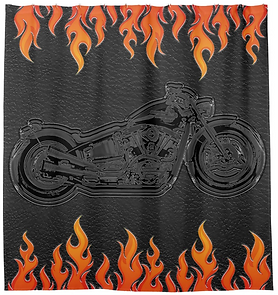 Black Leather Orange Flames Hot Fire Motorcycle Shower Curtain