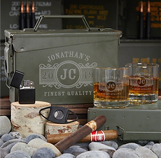 Personalizable Whiskey Glasses Ammo Can Gift Set