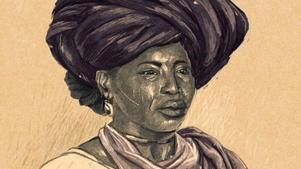 Como não há registros fotográficos de Adelina, a charuteira, ilustração foi baseada em fotografias de escravas minas que viviam no Maranhão na época (Foto: André Valente/BBC Brasil)
