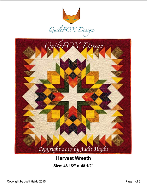 "Harvest Wreath with Flying Geese Border, size: 48 1/2"" x 48 1/2"""