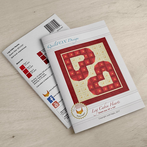 "Log Cabin Hearts - Wedding quilt, queen size: 93"" x 103"""