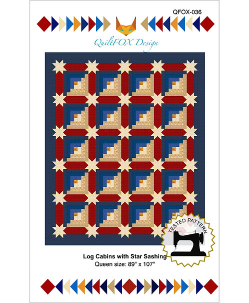 "Log Cabin with Star Sashing, queen size: 89"" x 107"""