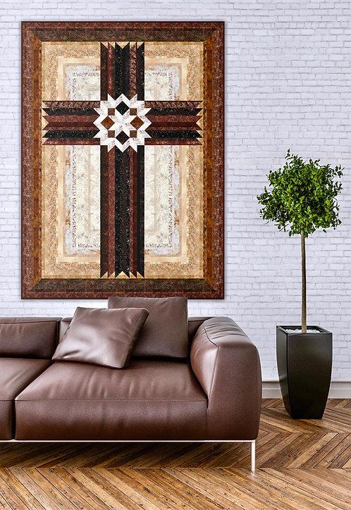"Carpenters' Star Cross, size 42"" x 57""-ombre version"