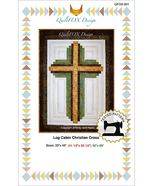 "Log CabinChristian Cross, sizes: 33""x 45"",41 1/2""x 56 1/2"", 50""x 68"""
