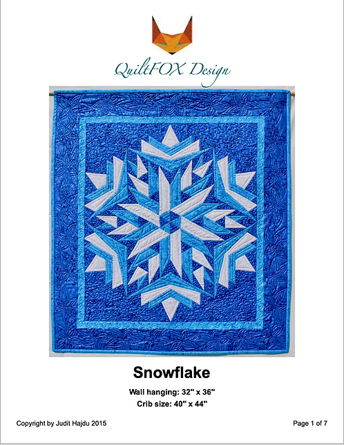 Snowflake, baby quilt in two sizes