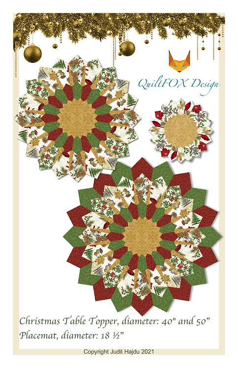 """Christmas Table Topper, diameter: 40"""" and 50"""", Placemat 18 ½"""""""