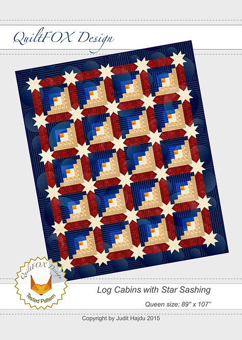 "Log Cabin Quilt Pattern - Log Cabins with Star Sashing - Queen Size: 89"" - 107"""