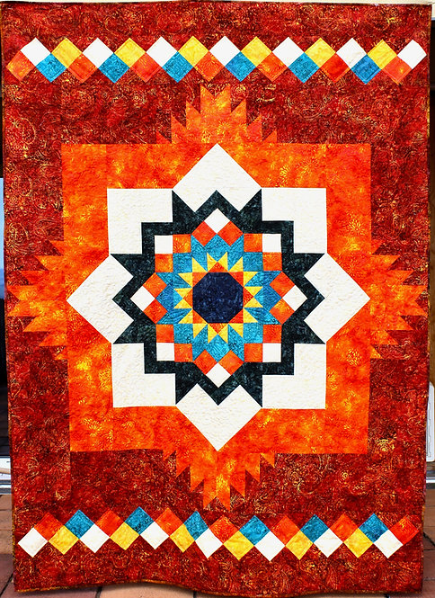 "Santa Fe Sunburst, size: 58"" x 76"""