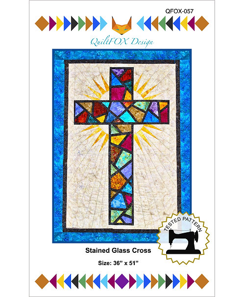 "Stained Glass Cross, size: 36"" x 51"""