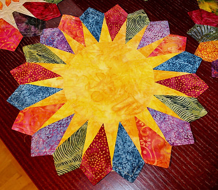 "Sunshine Placemats and quilt,  placemat 17"", quilt:  57"" x 76"""