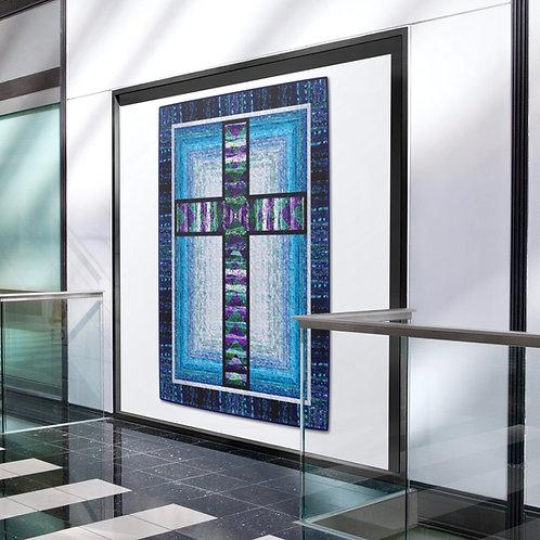 """Cross In Window, size: 56"""" x 73"""" - Dolphin Dance: 35"""" x 35"""""""
