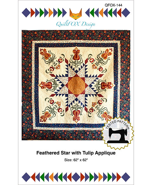 "Feathered Star withTulip applique, size: 62"" x 62"""